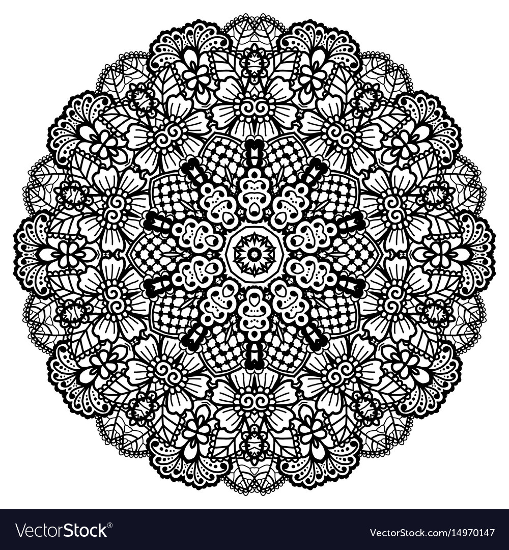 Round mandala black and white