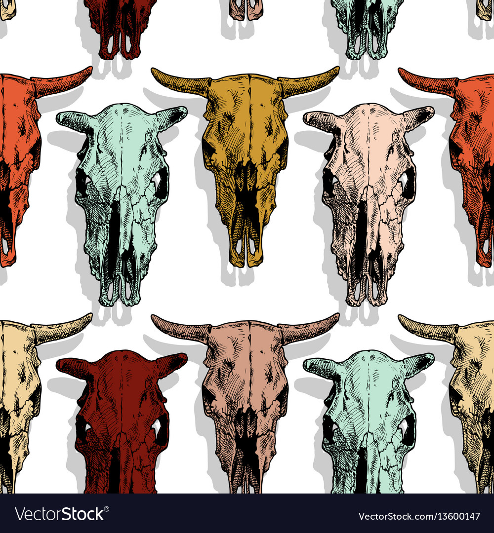 Seamless pattern with cow and bull skull