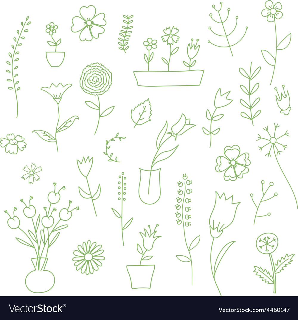 Set of spring plants and flowers hand-drawn