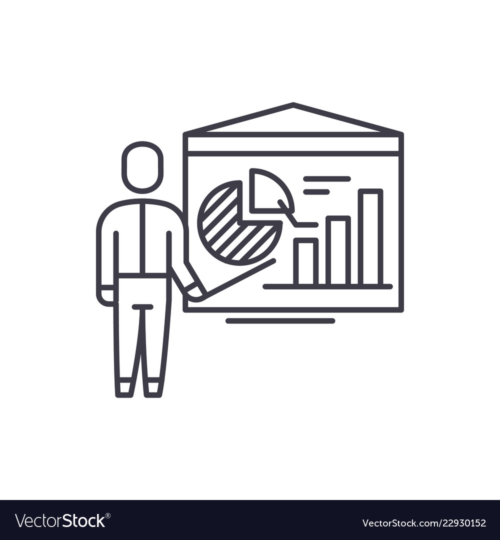 Accounting analysis line icon concept accounting