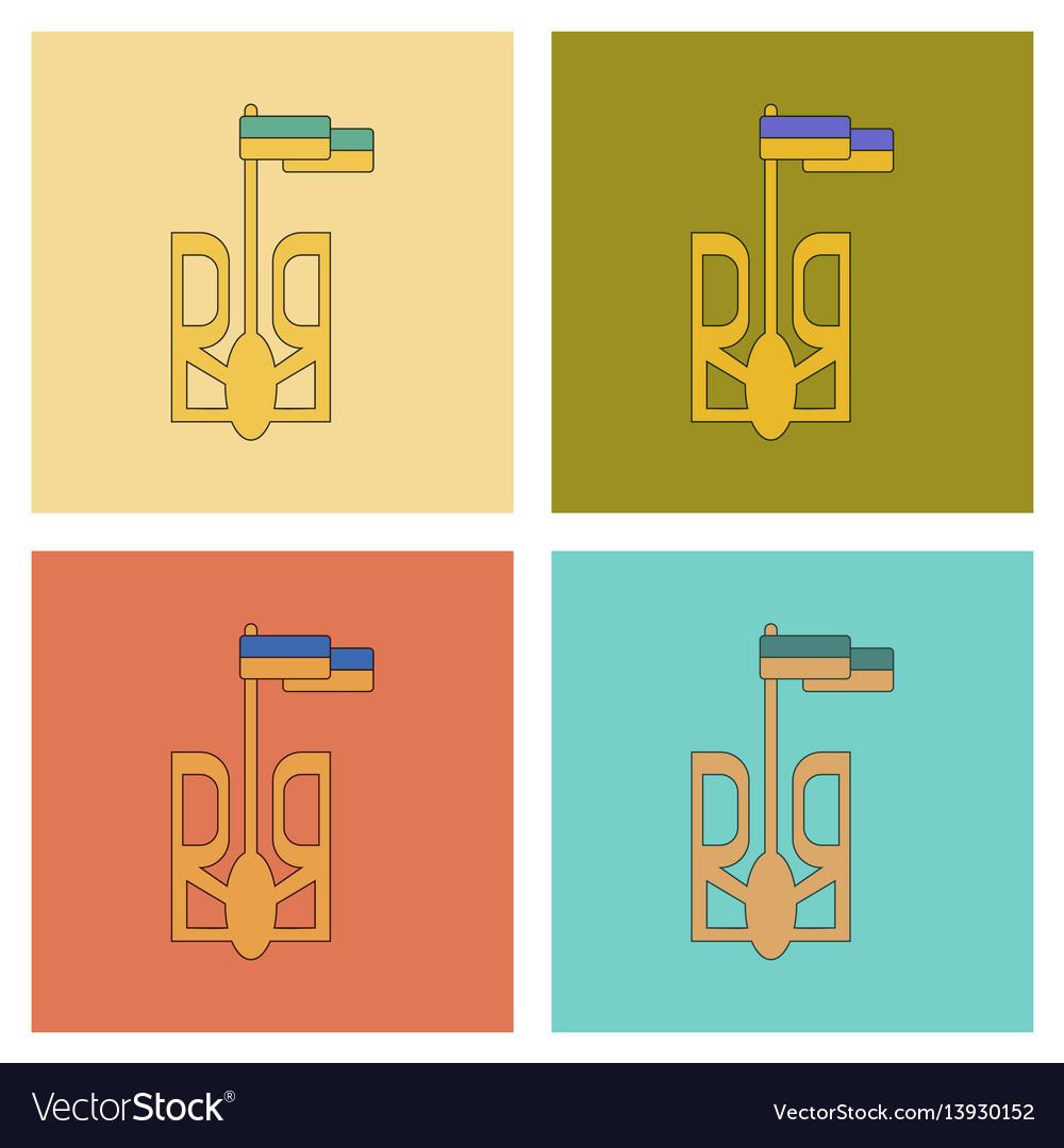 Assembly flat icons emblem of ukraine vector image