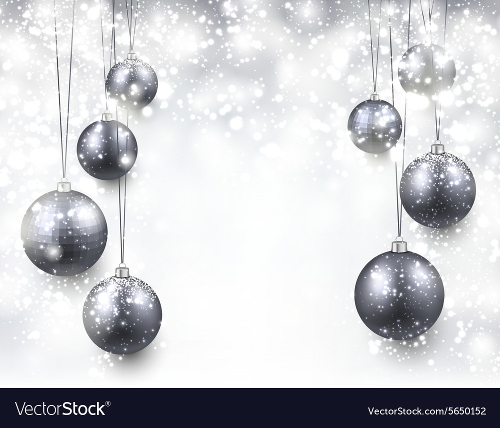 Background With Silver Christmas Balls Royalty Free Vector