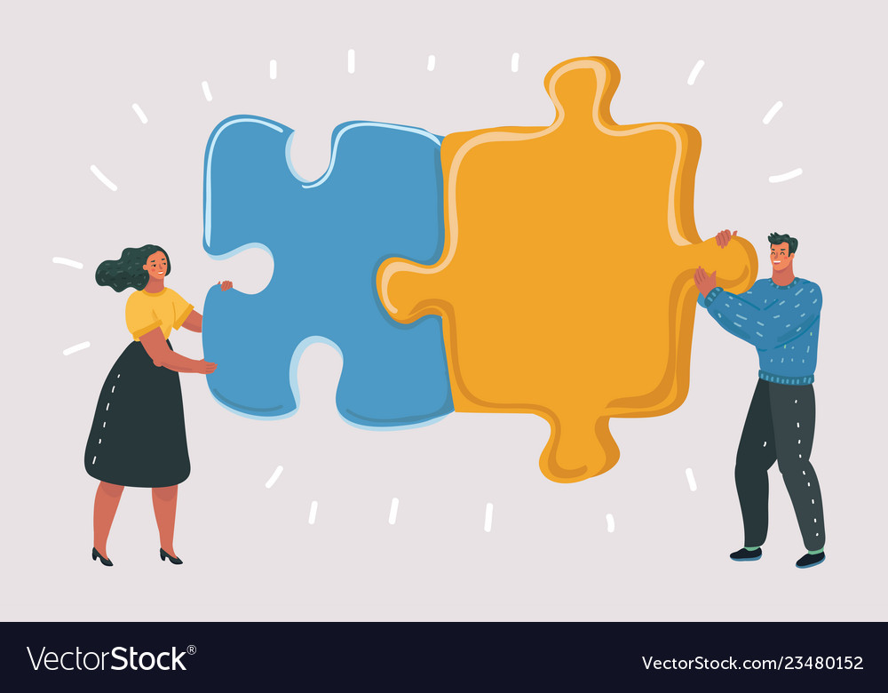 Big puzzle in couple hands