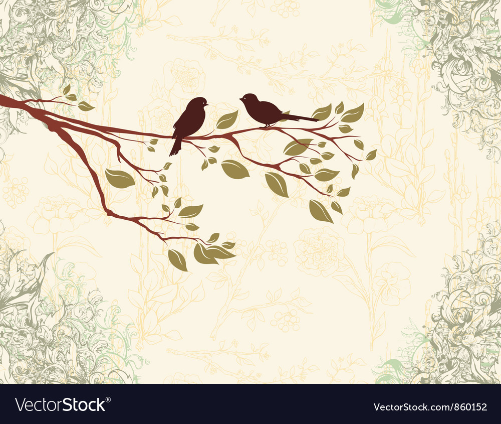 Birds on a branch vector image