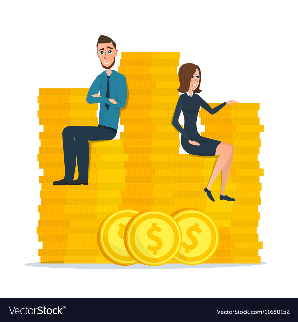 Cartoon businessman and businesswoman sitting on