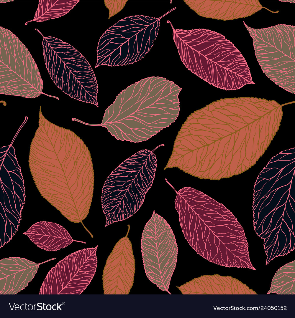 Decorative leaves pattern seamless background