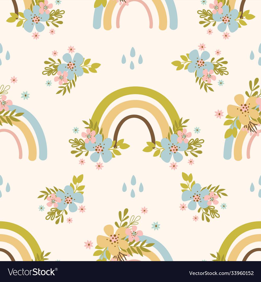 Floral rainbow hand drawn seamless pattern