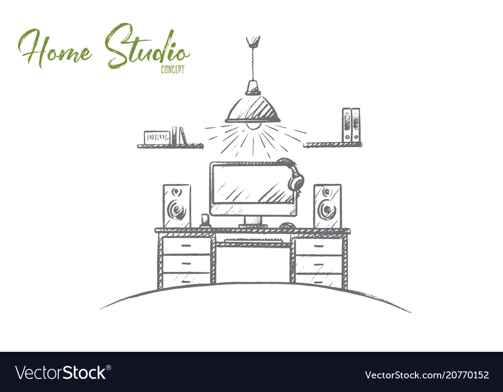 Home studio concept hand drawn isolated