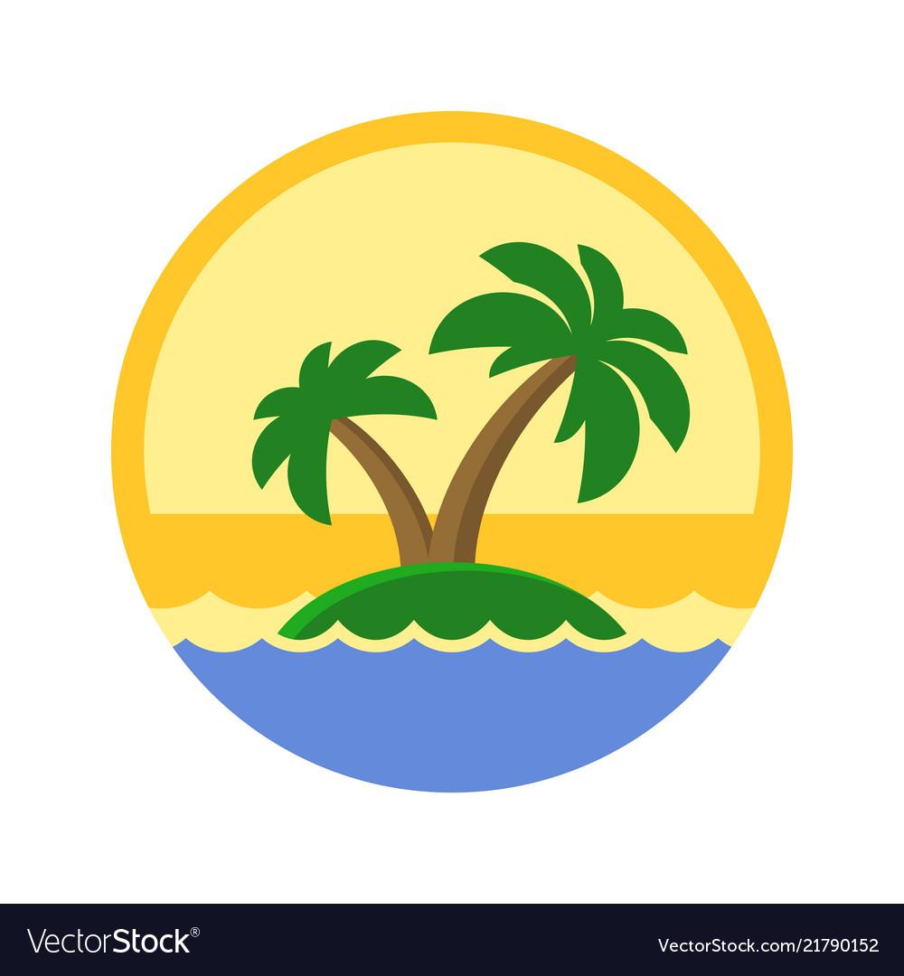 Island with palm trees cute logo