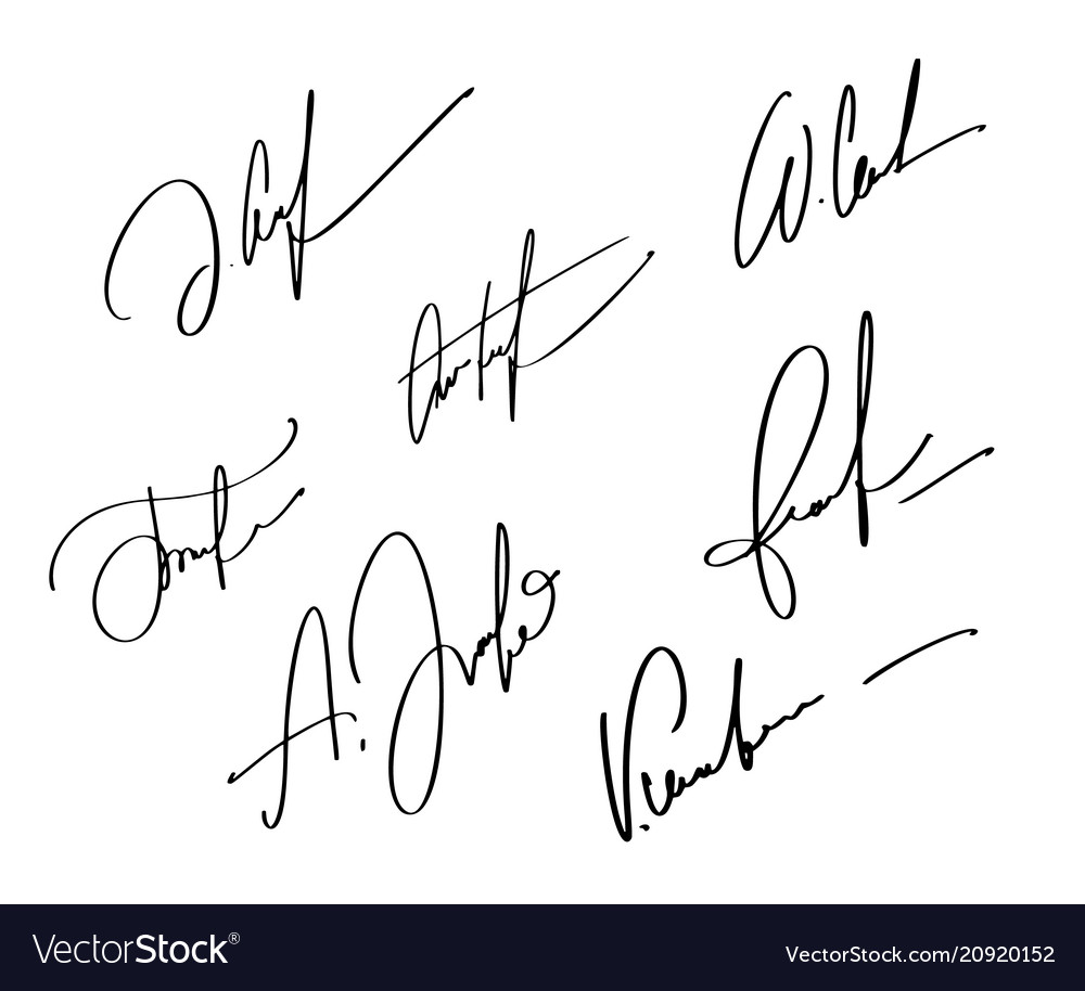 Manual signature for documents on white background