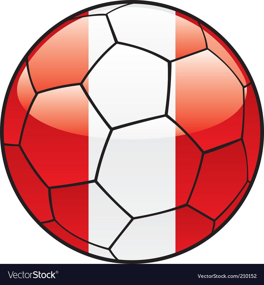 Peru flag on soccer ball vector image