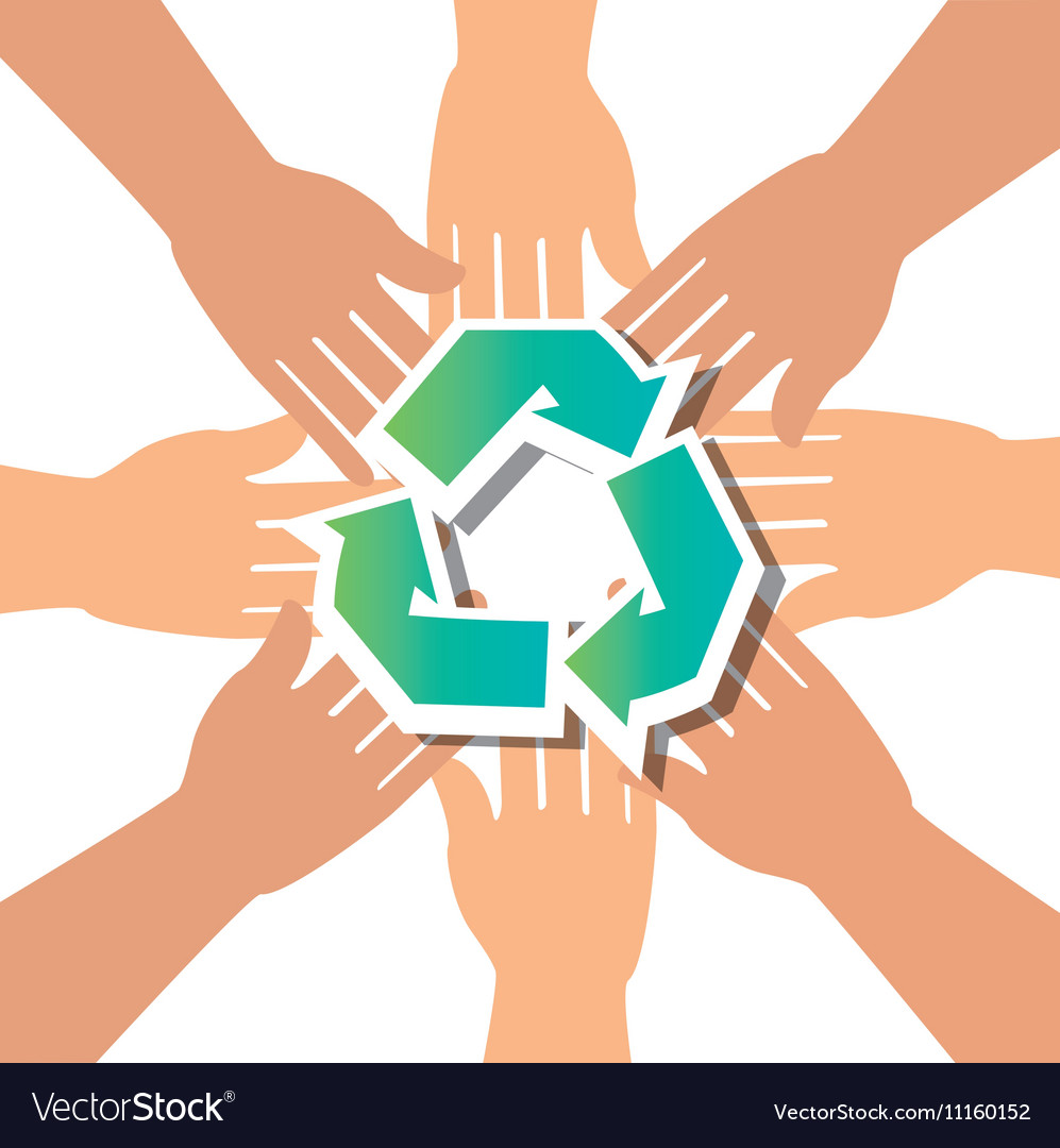 Recycle Concept Hand Unity Group Royalty Free Vector Image