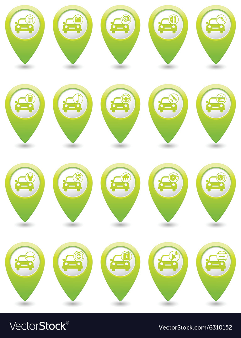 Set of 20 cars wit signs GREEN map pointer