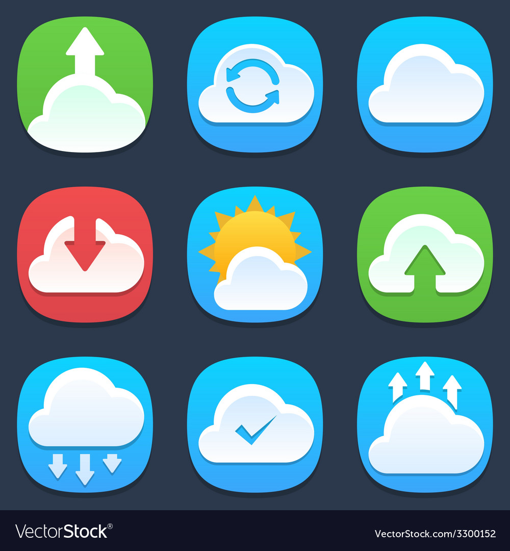 Set of clouds mobile icons in flat design