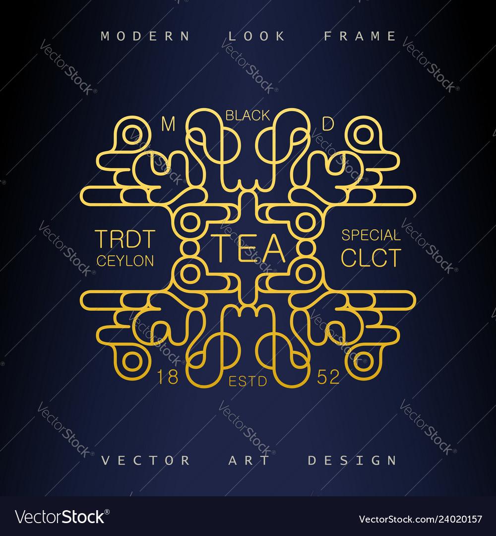 Art-deco frame in mono line style