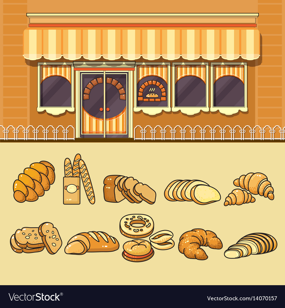 Bakery shop facade and set of colorful food icons