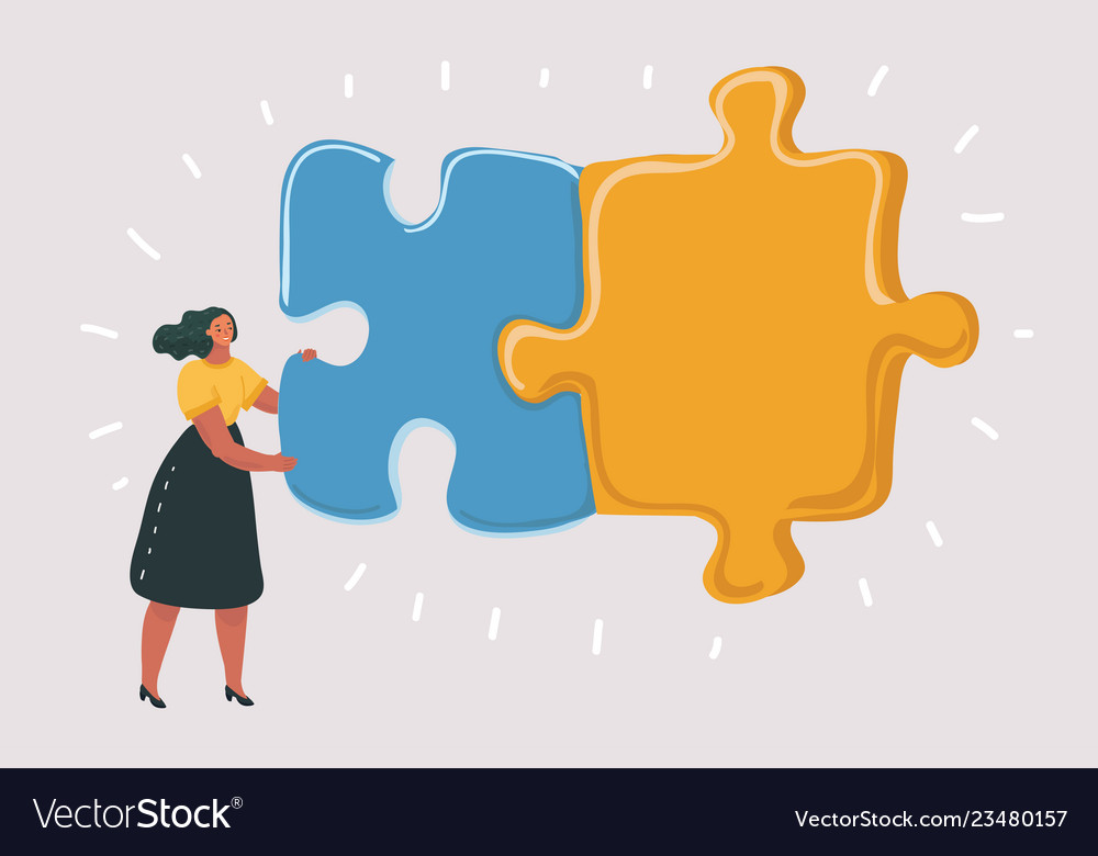 Combining two puzzle pieces working together