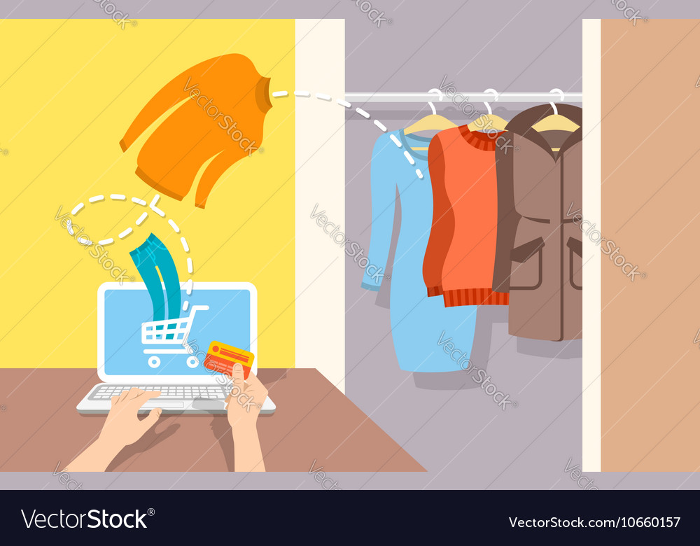 Girl buys casual winter clothes online by computer