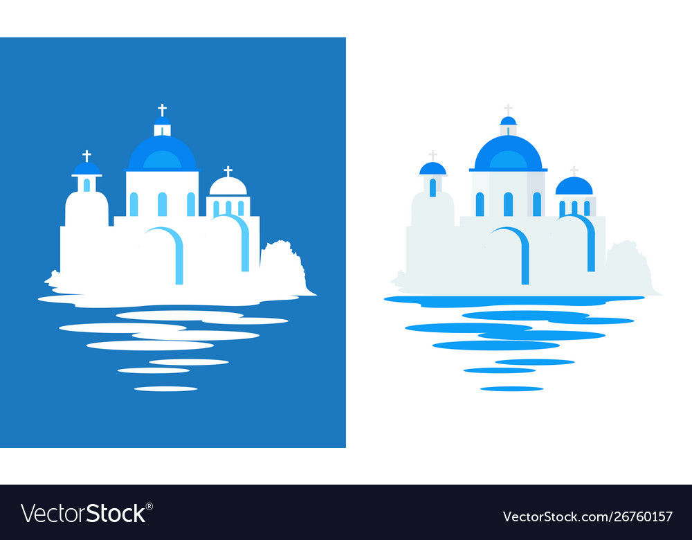 Greek church with blue domes - flat travel