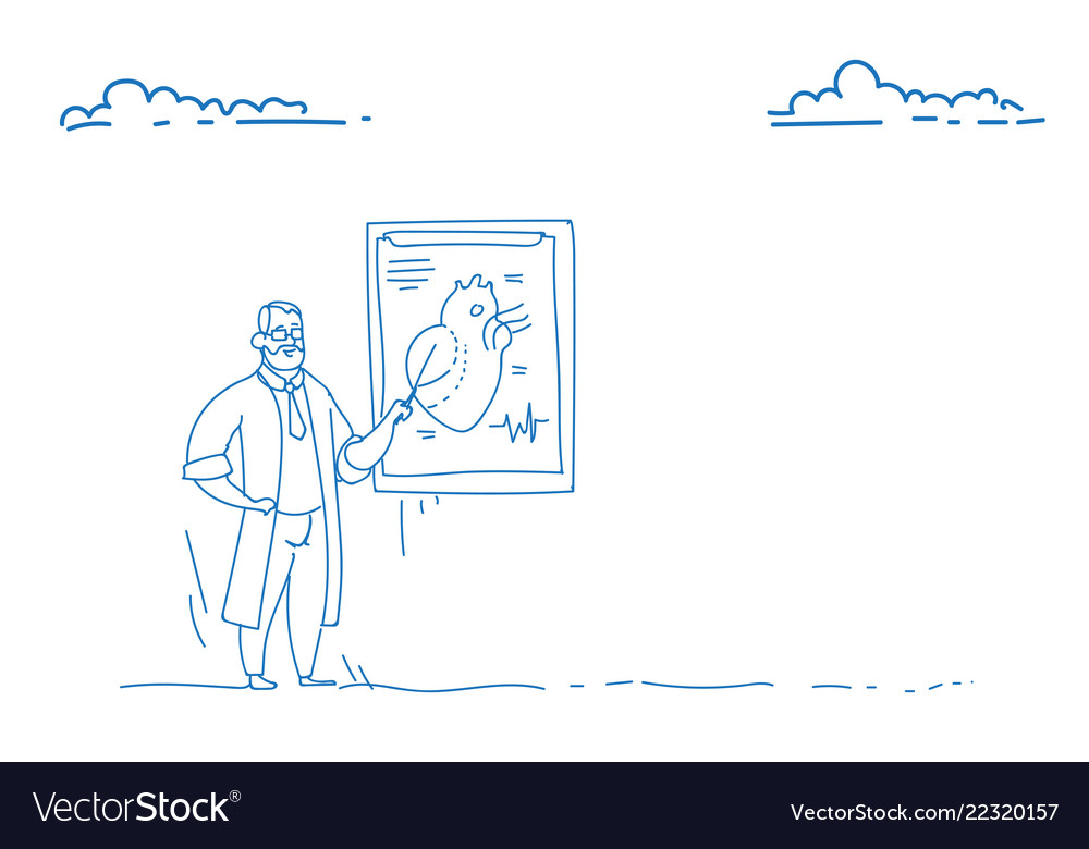 Male doctor cardiologist over flip chart heart