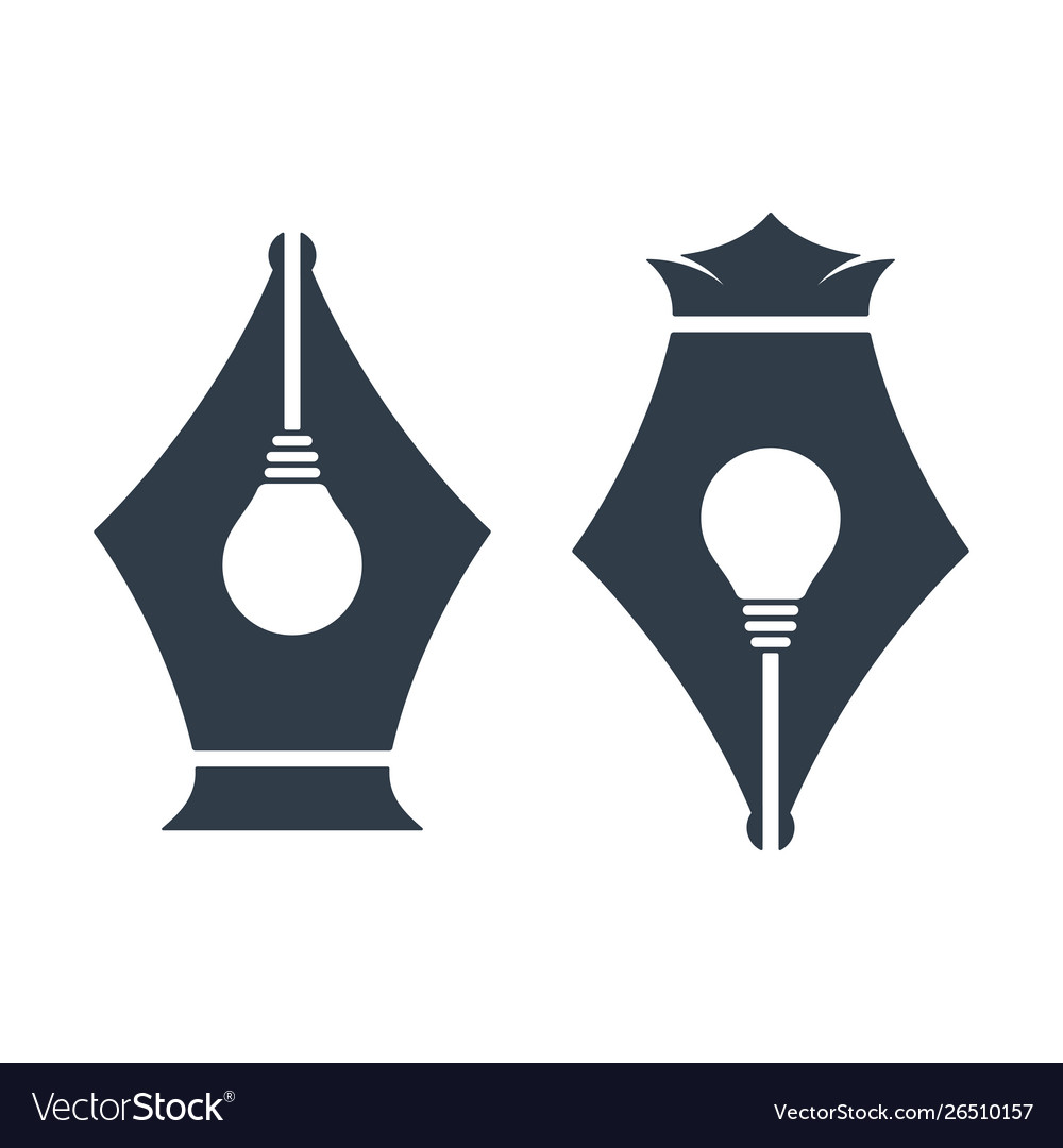 Pen nib icons with bulb sign