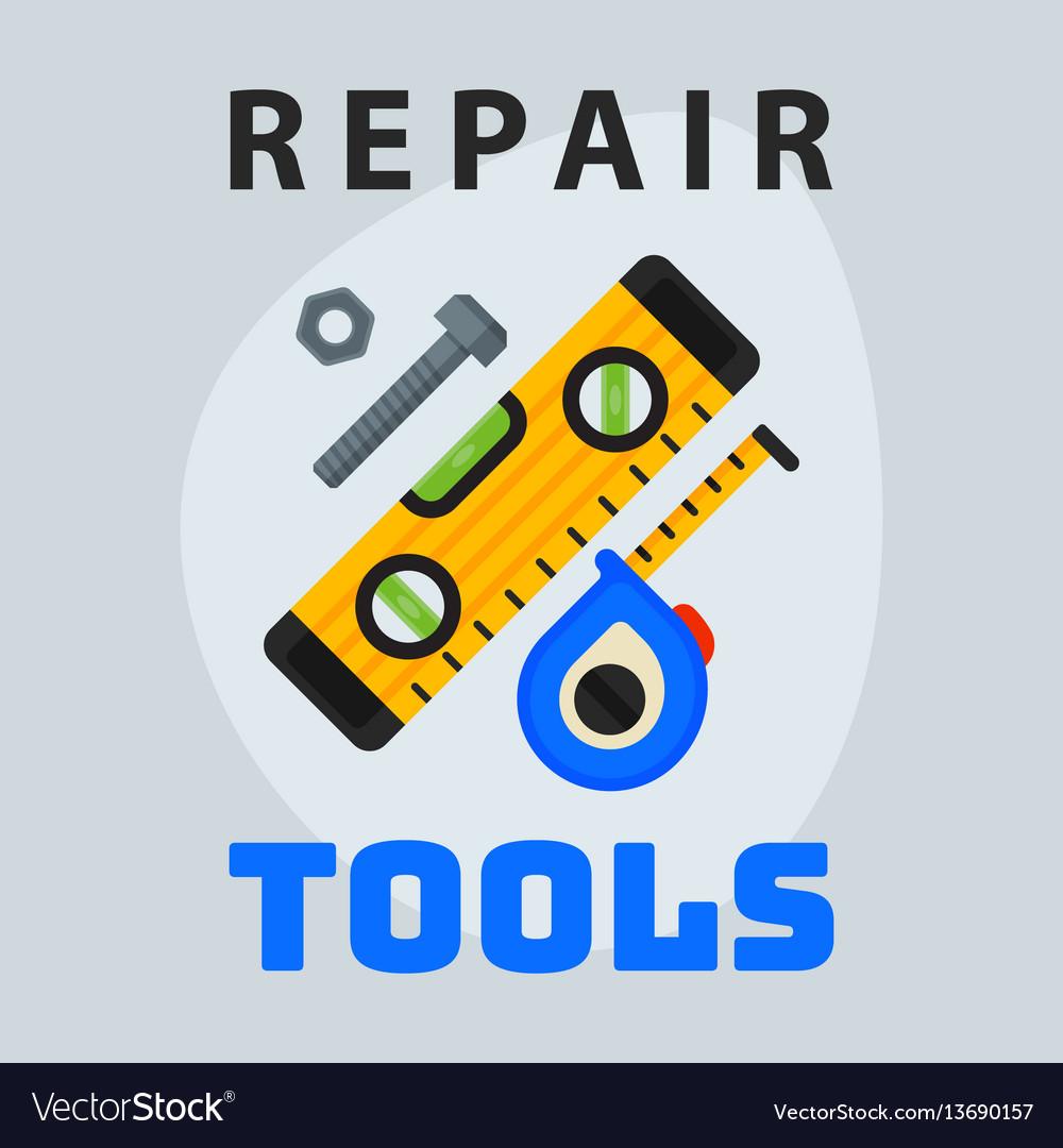 Repair tools level measuring tape icon creative