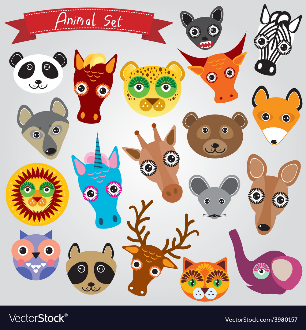 Set of funny animals muzzle