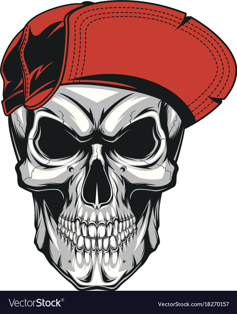 Skull in a red cap