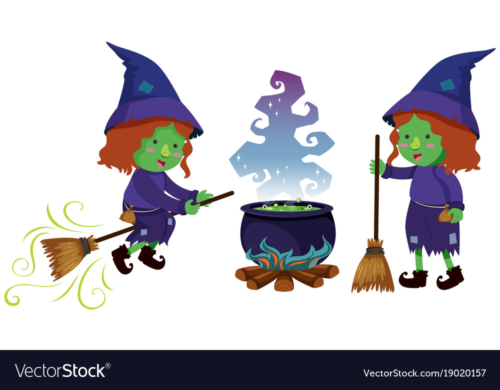 Two witches and magic brew pot vector image