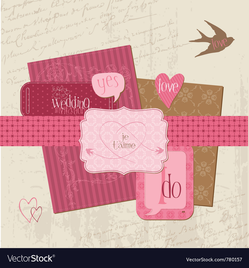Description vintage wedding design elements for scrapbook invitation in