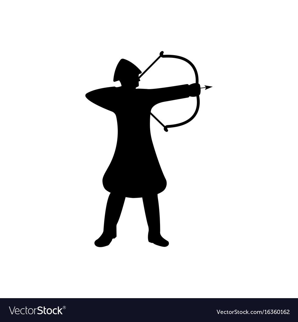 Archer warrior silhouette on white background