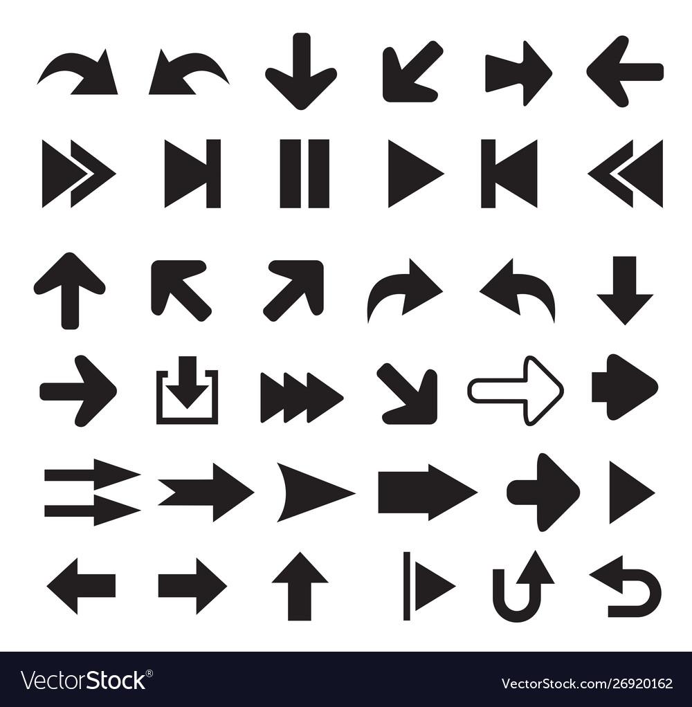 Arrows icons set silhouettes