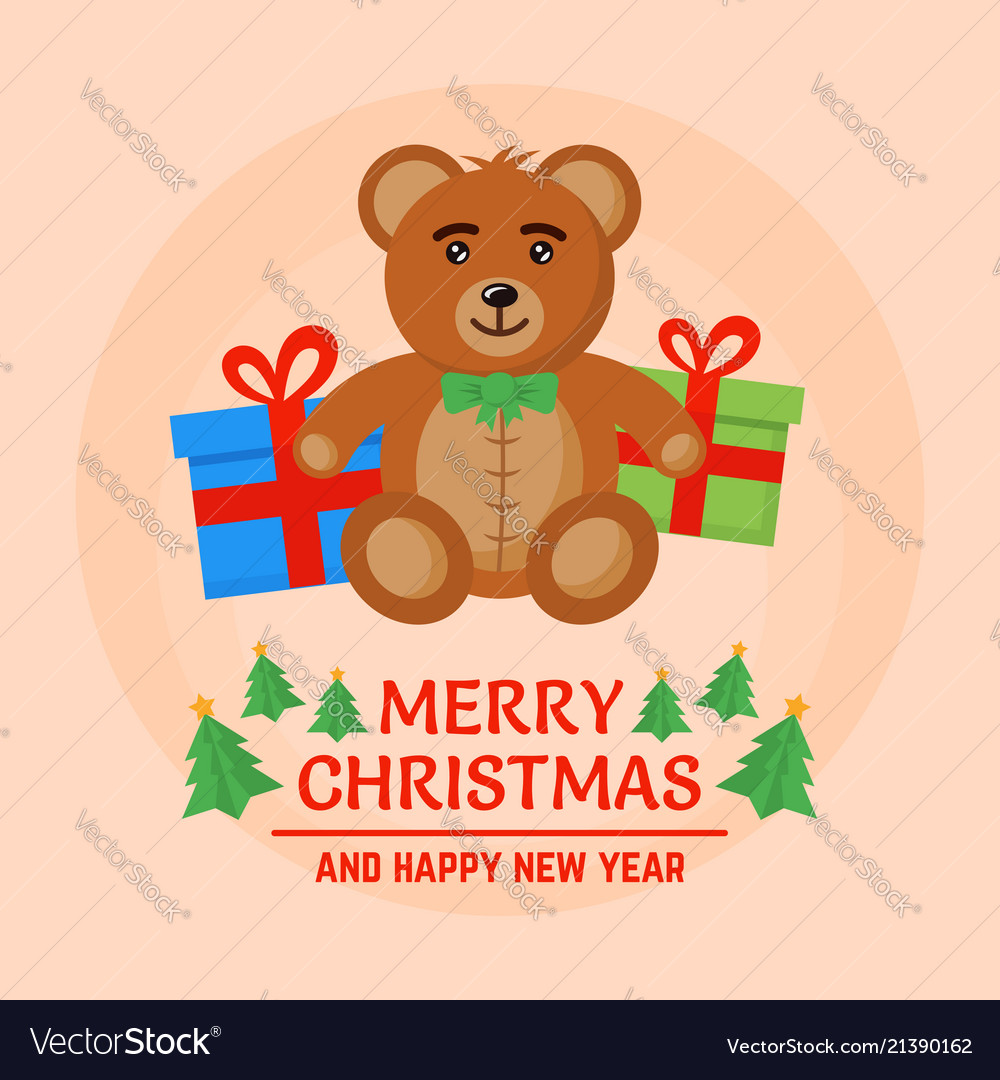 Brown bear toy and christmas gift boxes
