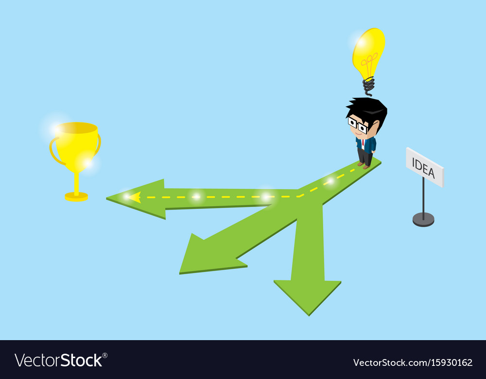 Businessman follow the right way to trophy