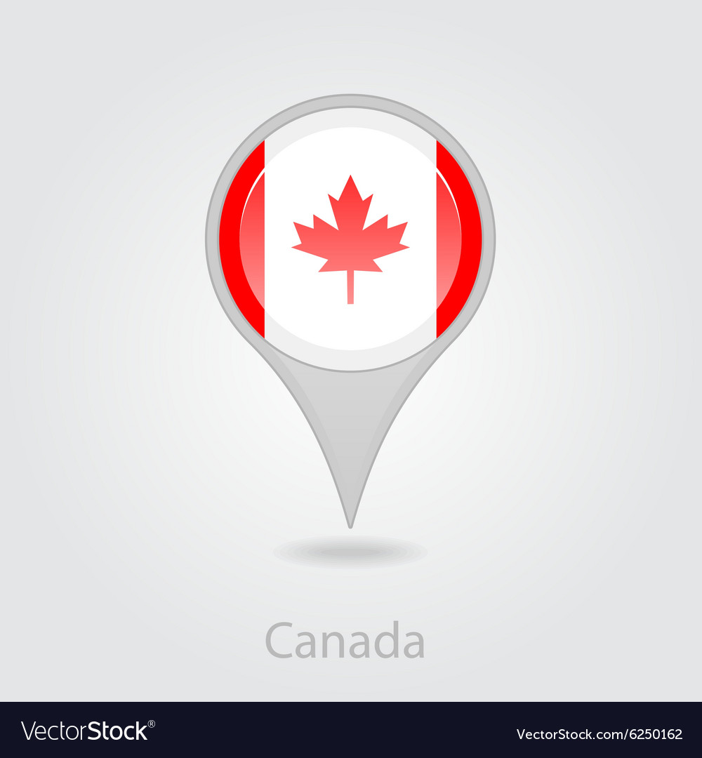 Canada flag pin map icon Royalty Free Vector Image on