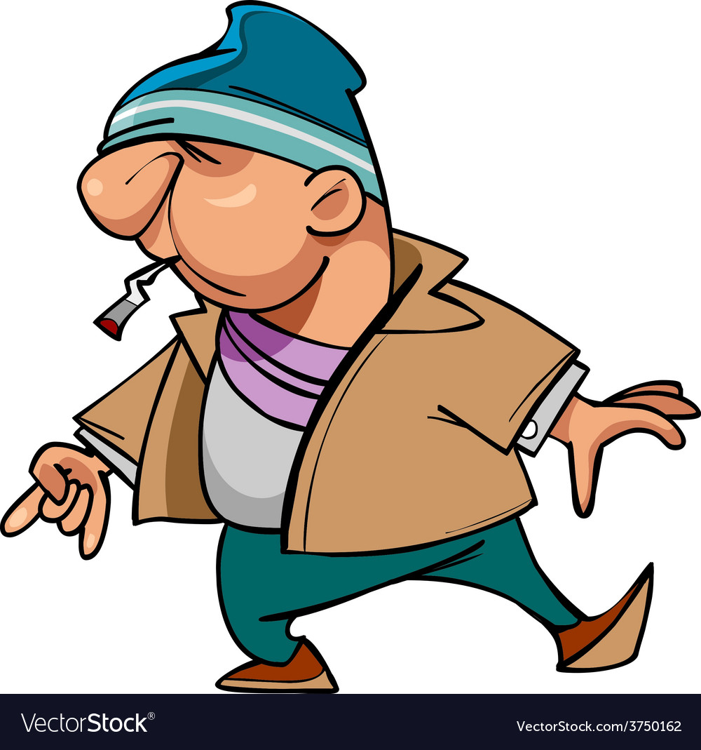 Cartoon character guy thug with a cigarette