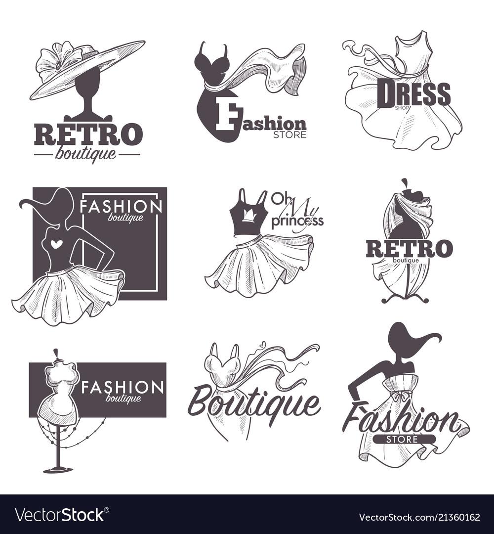 Fashion dress boutique sketch retro icons
