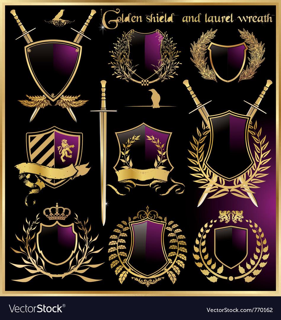 Golden shield and laurel wreath vector image