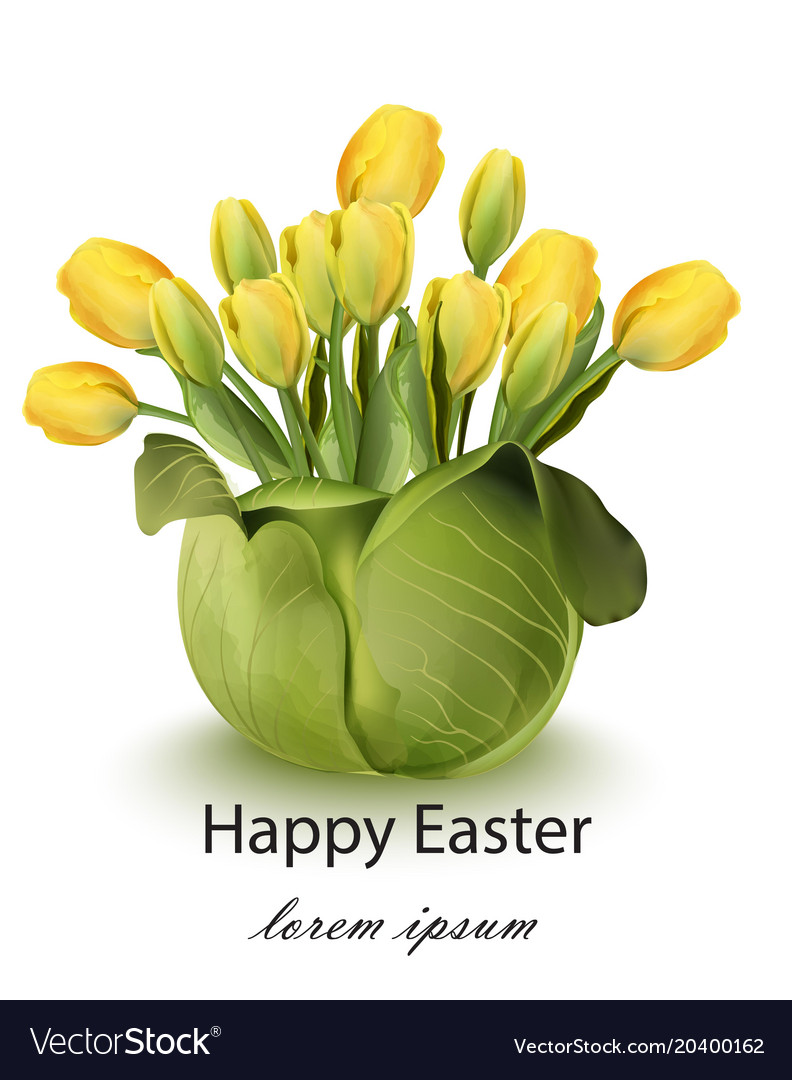 Happy easter tulip flowers bouquet card spring