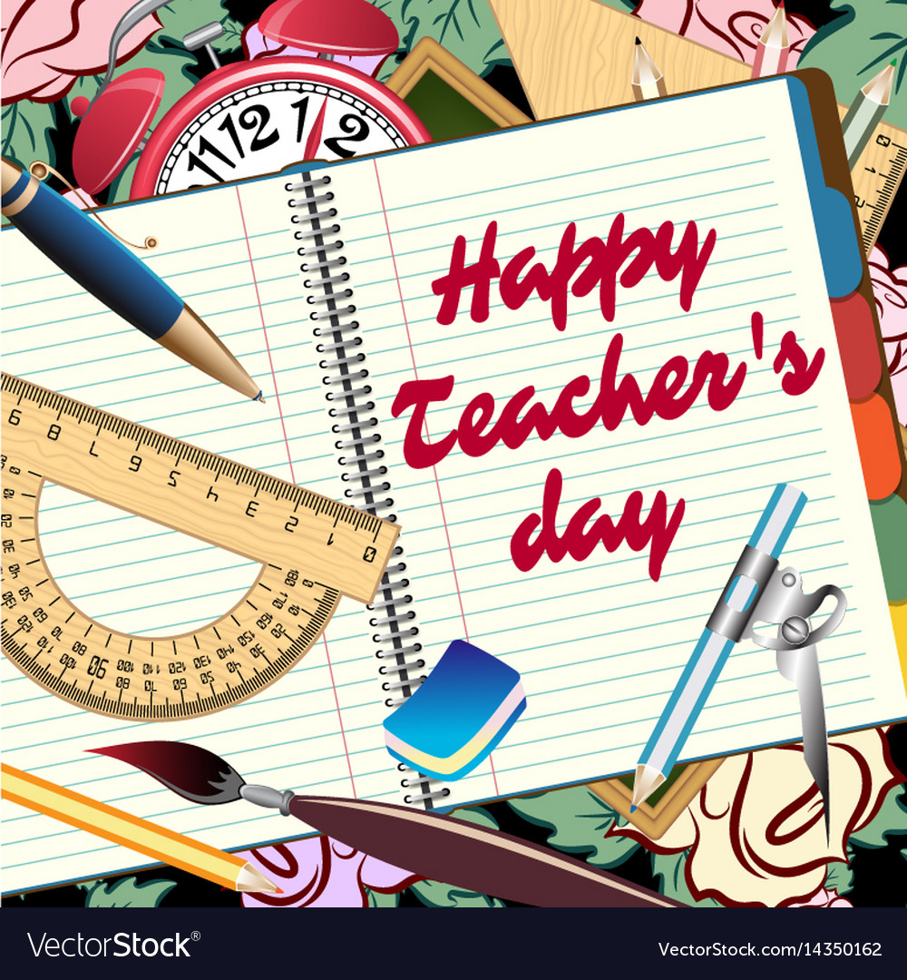 Happy teachers day greeting card royalty free vector image happy teachers day greeting card vector image m4hsunfo