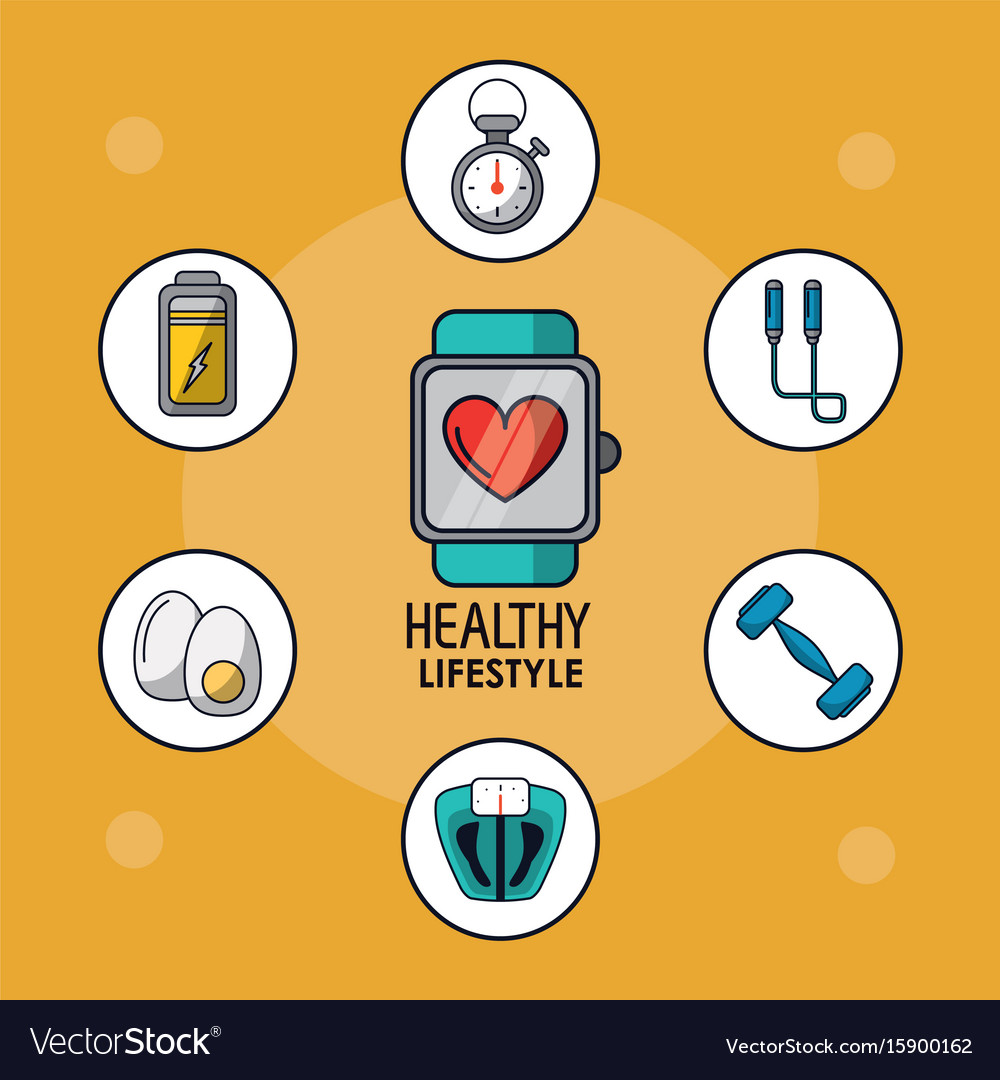 Light orange poster of healthy lifestyle with