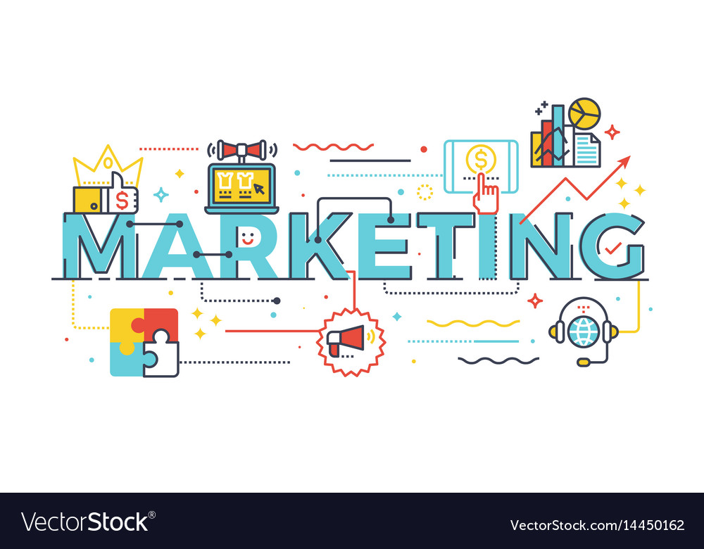 Marketing word in business concept