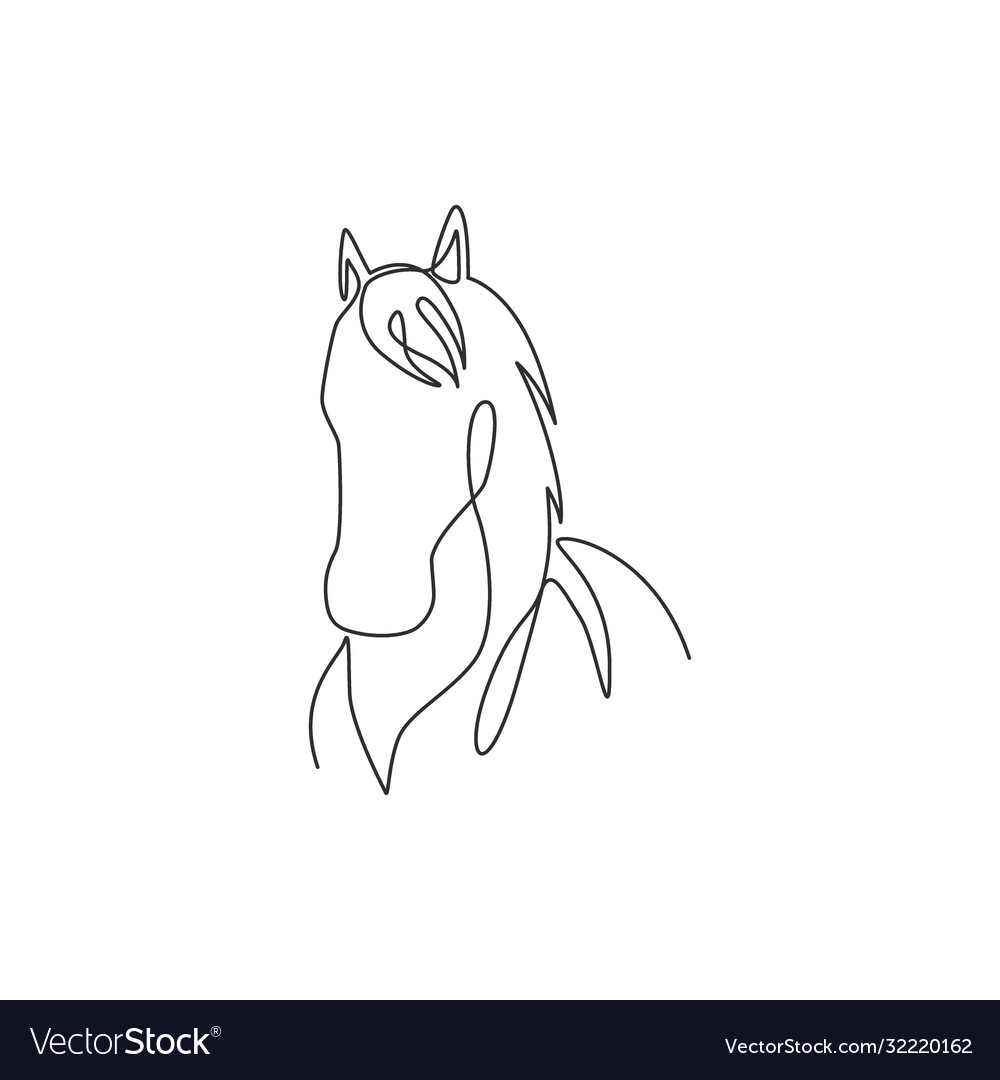 One Single Line Drawing Beauty Elegance Horse Vector Image