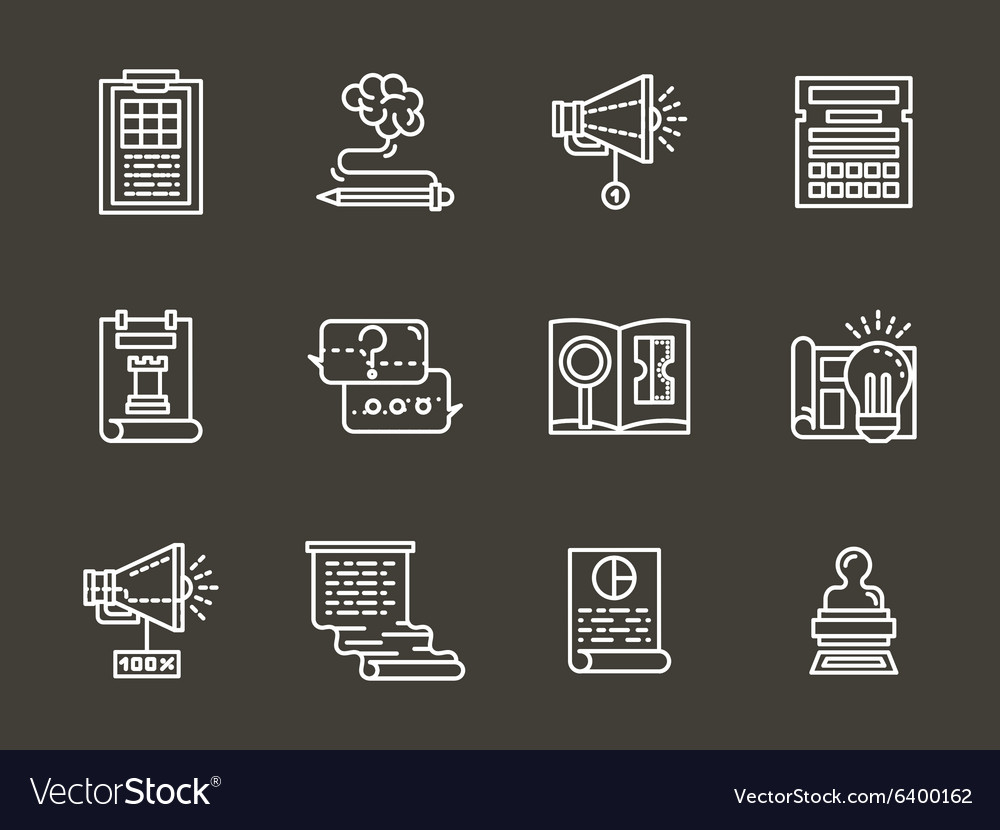 Simple white line accounting service icons