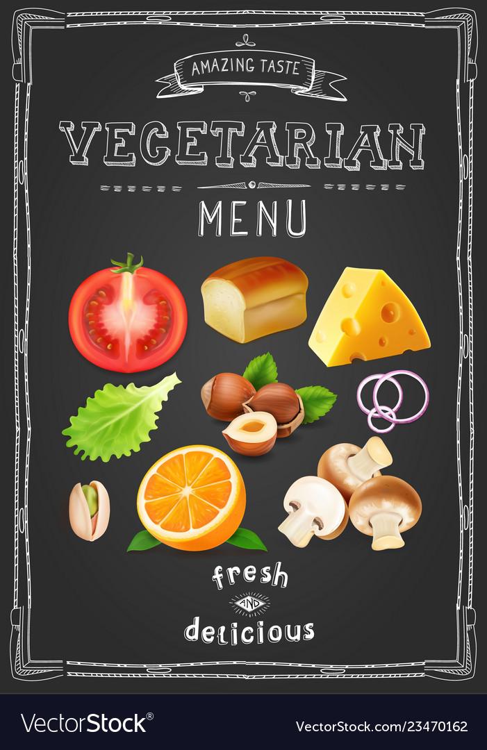 Vegetarian menu on chalkboard vintage drawn menu