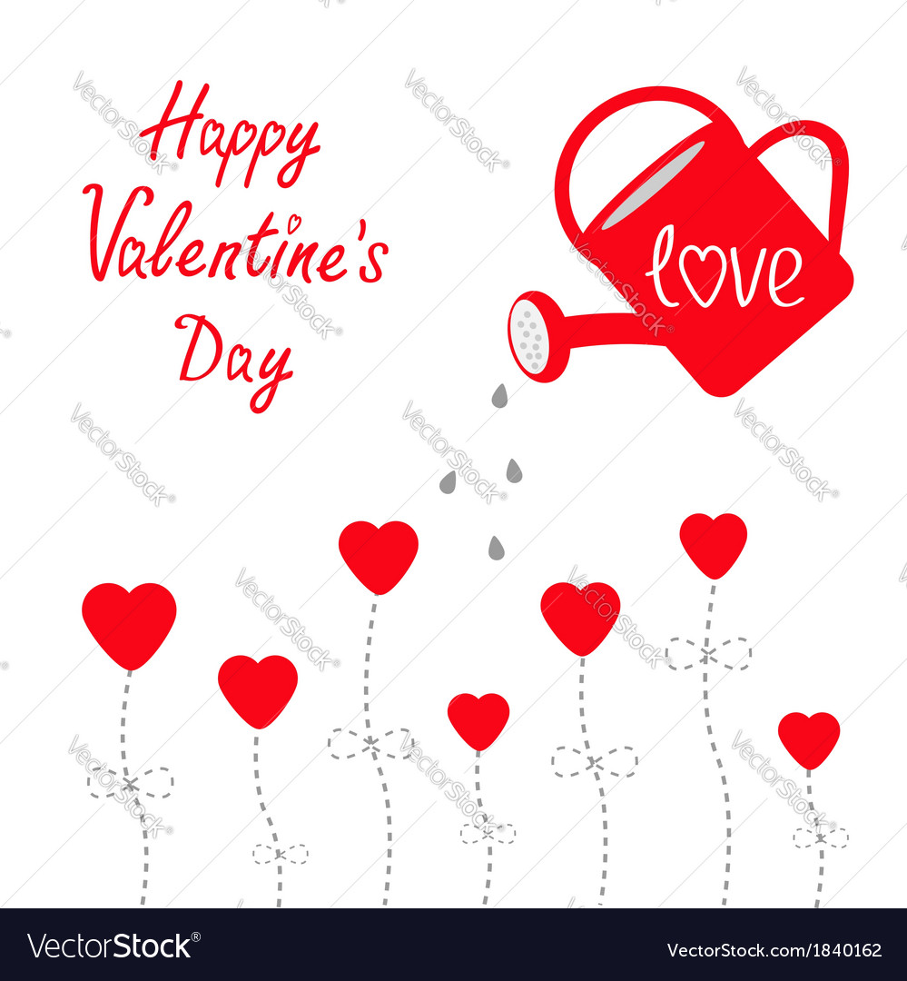 Water can and red flowers Happy Valentines Day vector image