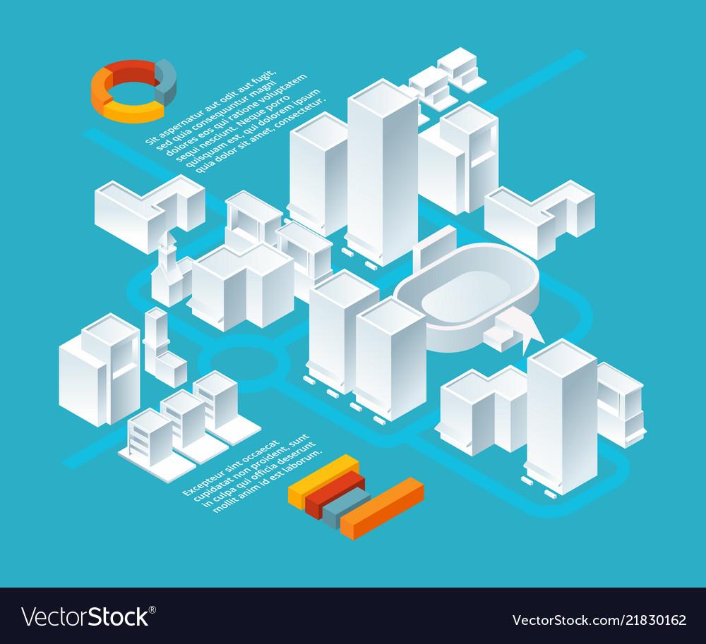 White isometric buildings urban 3d landscape