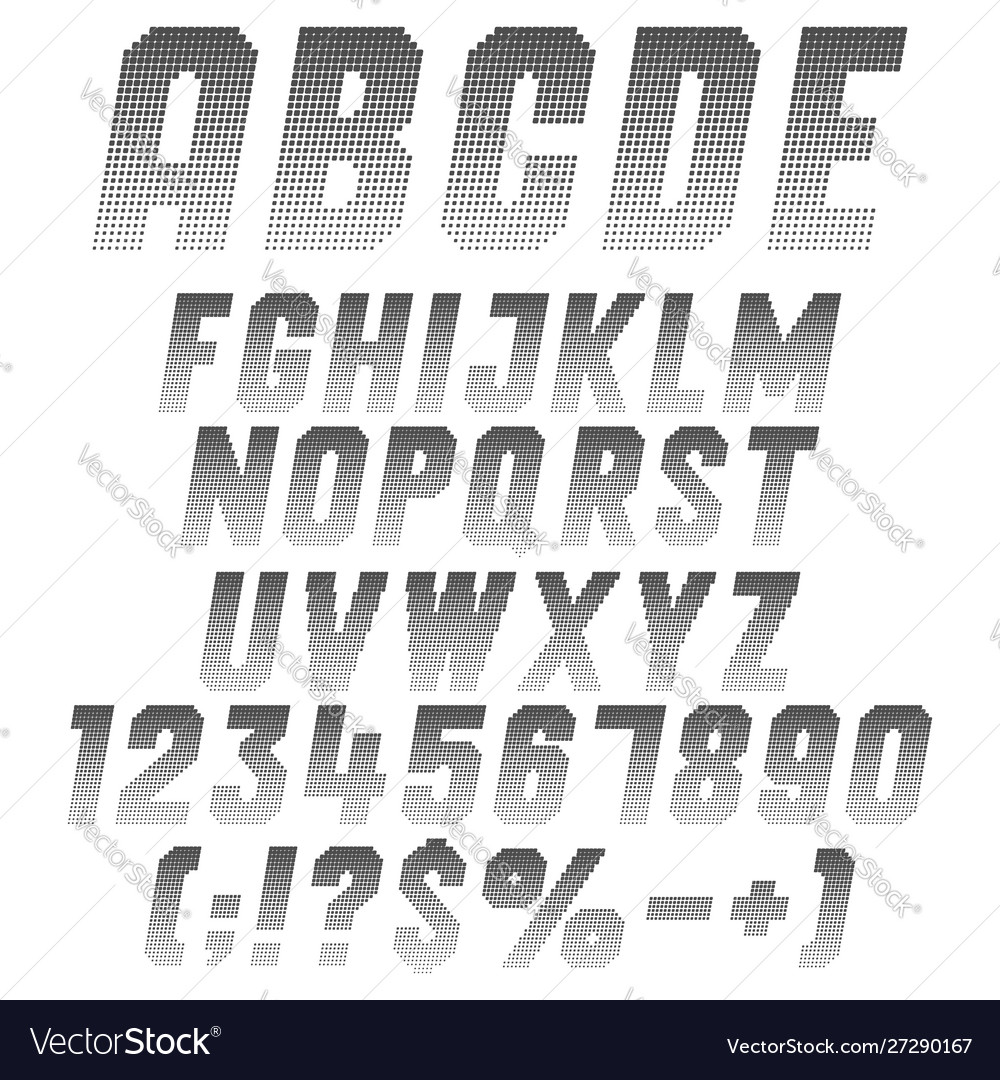 Alphabet letters numbers and symbols from pixels