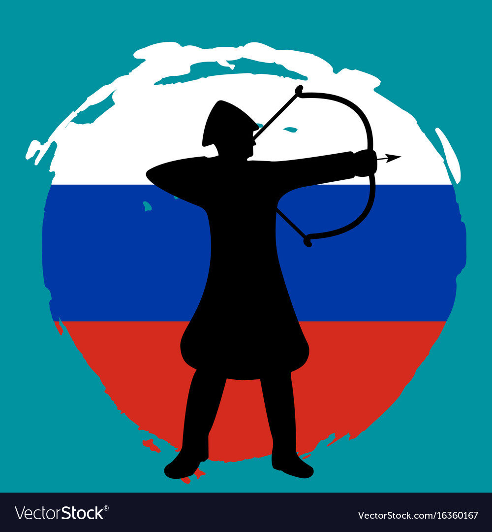 Archer warrior silhouette russia flag background