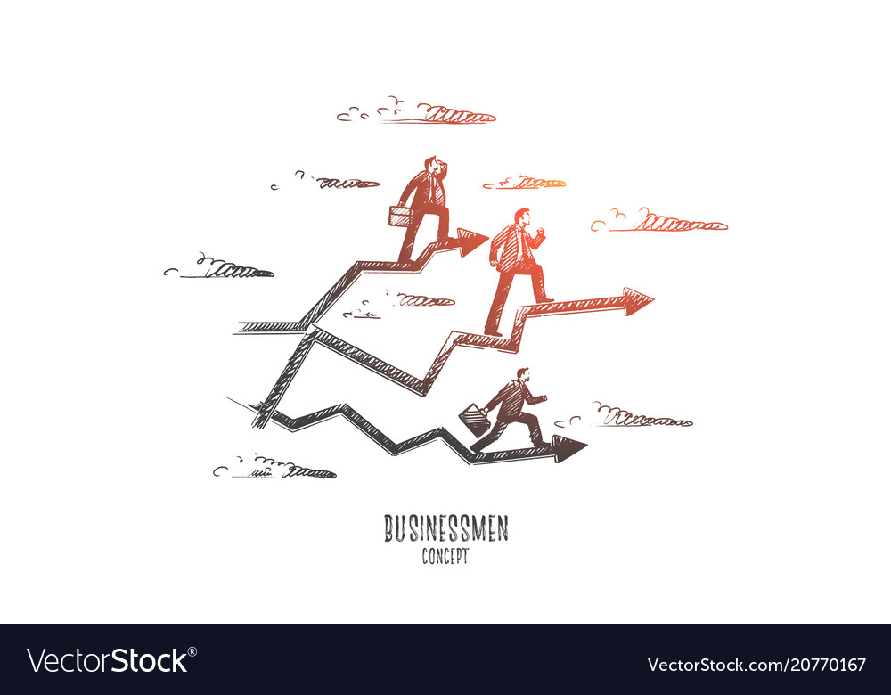 Businessmen concept hand drawn isolated